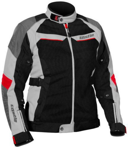 Castle X Women's Passion Air Motorcycle Jacket, Grey/Red Product image