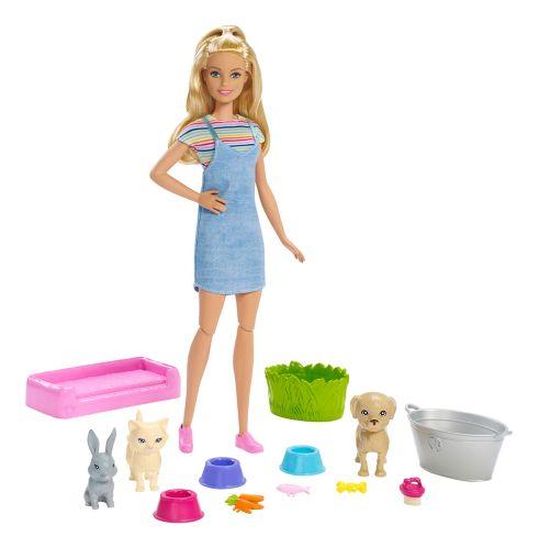 Coffret de jeu Barbie Jouer et laver Animaux domestiques avec poupée blonde Image de l'article