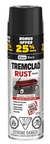 Peinture aérosol Tremclad avec prime, noir, 425 g Image de l'article