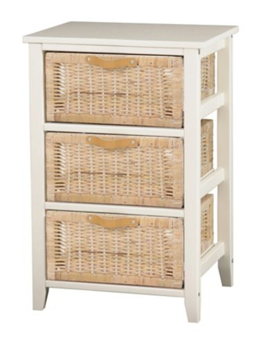 PT Integra 3-Drawer Wicker Chest, White Product image