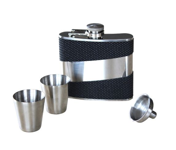 Carbon Fibre Style Flask with Chain, 5-oz Product image