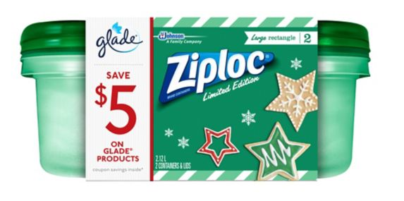 Ziploc® Holiday Rectangle Containers, Green, Large Product image