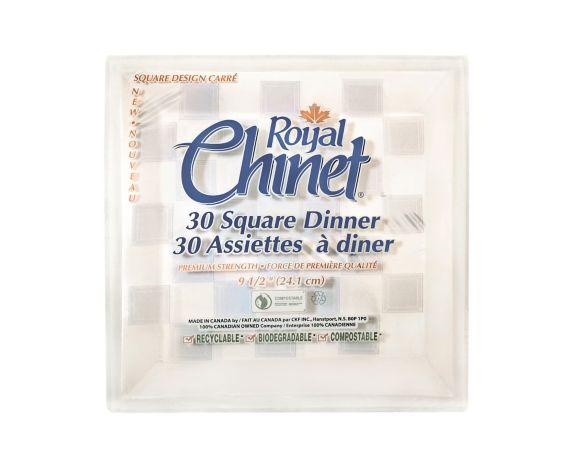 Assiettes plates carr. jetables Royal Chinet 9,5 po paq. 30 Image de l'article