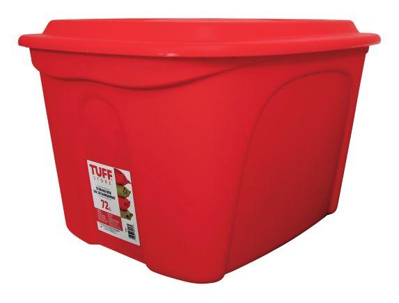 Boîte de rangement empilable en plastique Tuff Store, rouge, 72 L Image de l'article