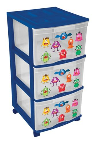 Gracious Living 3-Drawer Tower, Blue Product image