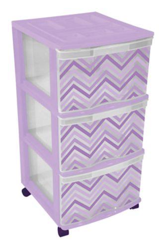 Tour de rangement Gracious Living à 3 tiroirs, violet Image de l'article