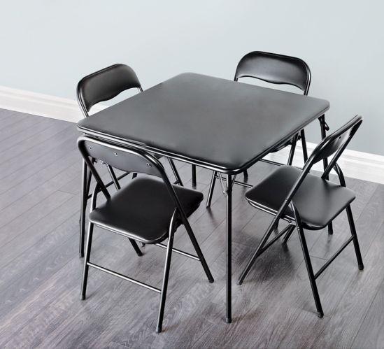 Table et chaises Enduro, noir, 5 pces