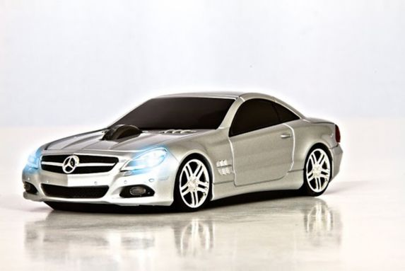 Silver Mercedes Computer Mouse