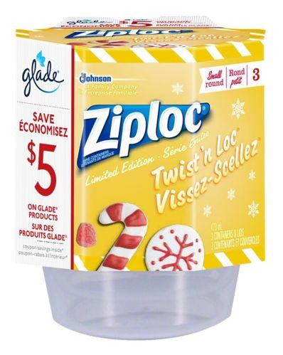 Contenants ronds des Fêtes Ziploc Twist 'n Loc, petit, paq. 3 Image de l'article