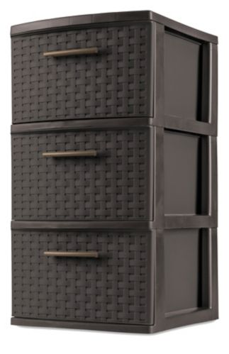 Sterilite 3-Drawer Tower, Brown Weave