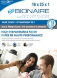 Filtres à fournaise Bionaire, 16 x 25 x 1 po, paq. 2 | Bionairenull