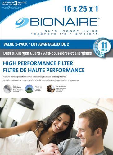 Filtres à fournaise Bionaire, 16 x 25 x 1 po, paq. 2 Image de l'article