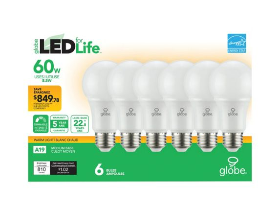 Globe Energy Star LED A19 Dimmable Light Bulb, 60W Equivalent Product image