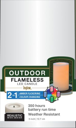 LED 2-in-1 Outdoor Candles, Assorted, 3-pk Product image