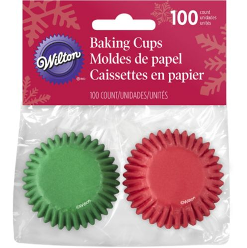 Wilton Mini Baking Cups, Red/Green, 100-pk