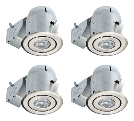 Recessed LED Lights, Brushed Nickel, 3-in, 4-pk Product image