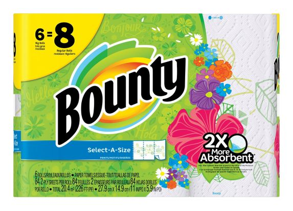 Bounty Print Large Roll Paper Towel, 6-rolls Product image