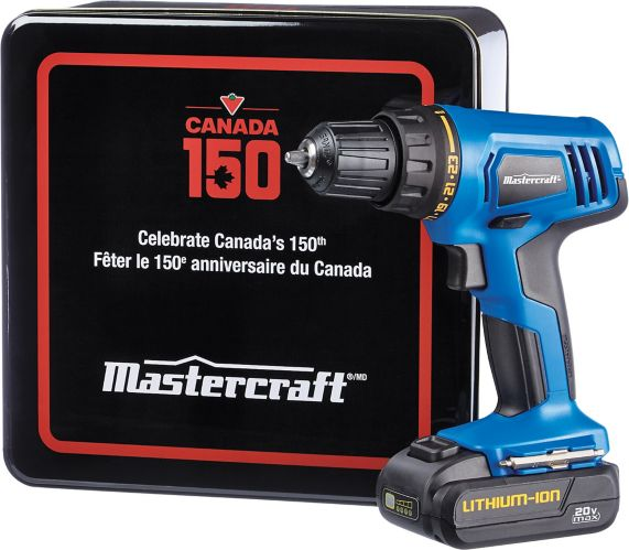 Mastercraft 20V Max Li-Ion Cordless Drill with Canada Day Tin, 3/8-in Product image