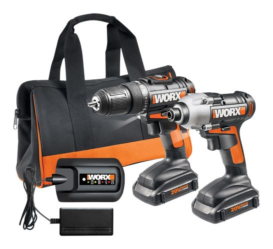 WORX 20V Max Li-Ion Cordless Drill & Impact Driver Combo Kit, 6-pc Product image