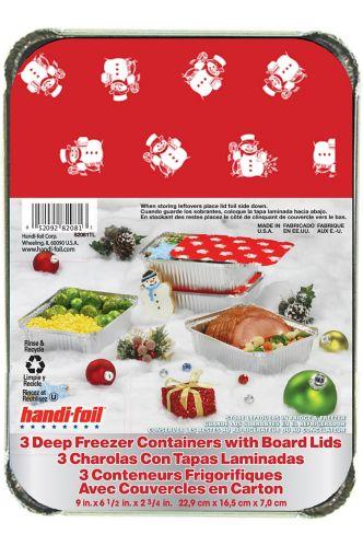 Handi-Foil Snowman Deep Freezer Container, 3-pc Product image