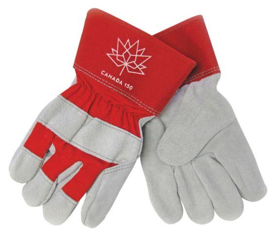 Gants de travail à paume en cuir refendu, Canada 150, grand