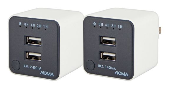 NOMA Dual Charge USB Plugwith Countdown Timer, 2-pk Product image