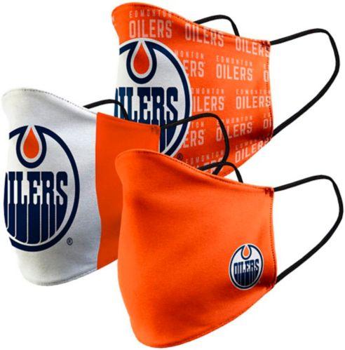 Couvre-visage en tissu des Oilers d'Edmonton, paq. 3 Image de l'article