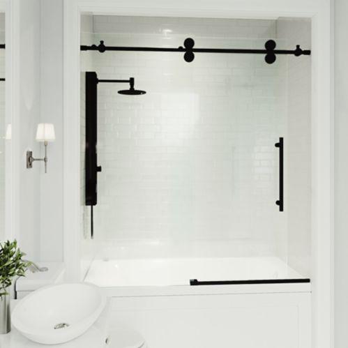 Porte de baignoire réversible VIGO Elan, verre, noir mat Image de l'article