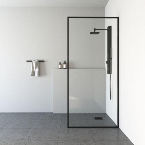 Panneau de douche fixe sans cadre VIGO, noir mat Image de l'article