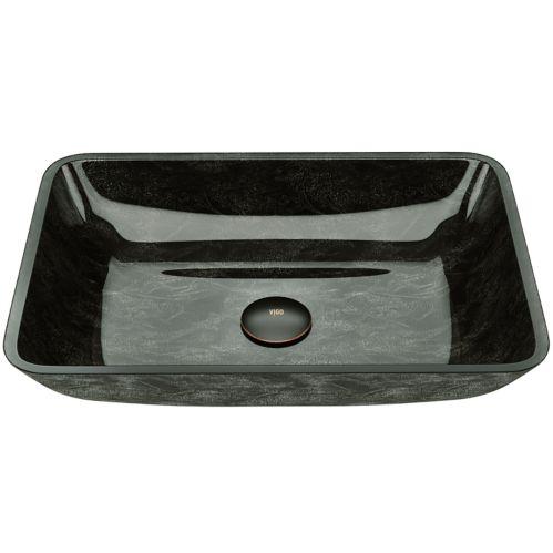 Lavabo vasque rectangulaire VIGO, verre, onyx gris Image de l'article