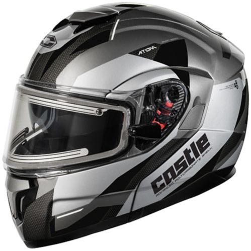 Castle X Atom SV Transcend Adult Snowmobile Helmet with Electric Shield, Black