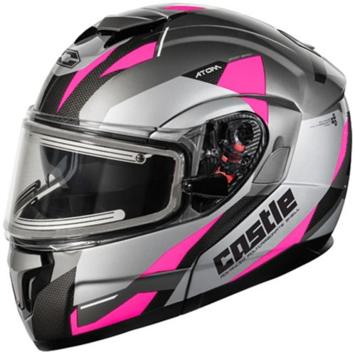 Castle X Atom SV Transcend Adult Snowmobile Helmet with Electric Shield, Pink Product image