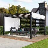 Sunjoy Modern Steel Pergola Adjustable Shade, White, 10 x 12-ft | Sunjoynull