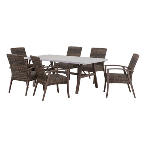 Sunjoy Ralston Wicker Dining Set, Brown, 7-pc Product image