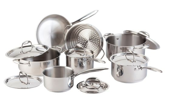PADERNO Canadian Stainless Steel Cookware Set with Bonus Fry Pan, 13-pc Product image