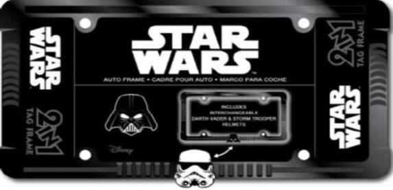 Cadre de plaque d'immatriculation chrome Star Wars Darth Vader & Trooper Image de l'article