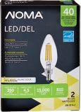 NOMA LED 40W Chandelier Filament Light Bulb, Soft White, 2-pk | NOMAnull