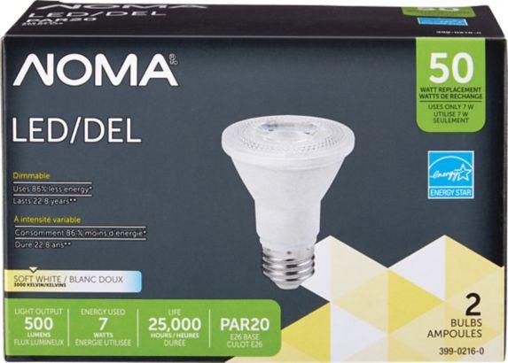 NOMA LED PAR20 50W Soft White Light Bulb, 2-pk