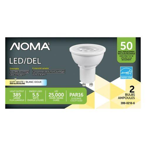 Ampoules à DEL NOMA GU10 50 W, blanc doux, paq. 2