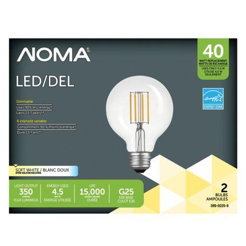 NOMA LED G25 40W FilamentClear Light Bulb, 2-pk Product image