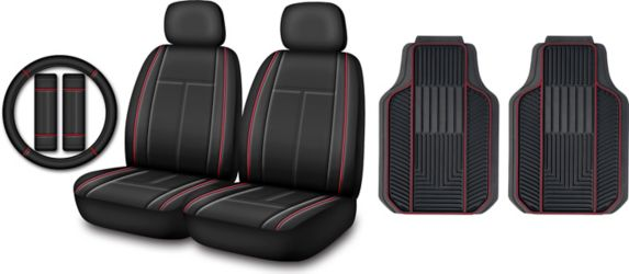 Floor Mat & Seat Cover Set, Red