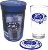 Licensed Automotive Tall Glass Gift Set   Fordnull