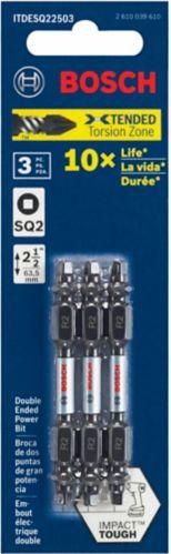 Bosch Impact Tough Robertson Insert Bits, 2.5-in, 3-pc
