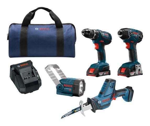 Bosch 18V Li-Ion Cordless 4-Tool Combo Kit Product image