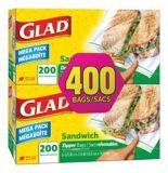 Sacs à sandwich à glissière Glad, 2 x 200 unités | GLADnull