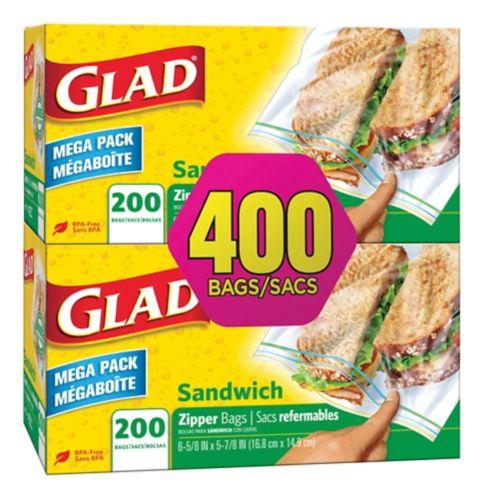 Sacs à sandwich à glissière Glad, 2 x 200 unités