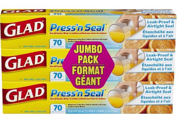 Pellicule adhérente multi-usages Glad Press 'n Seal, 3x70 pi Image de l'article