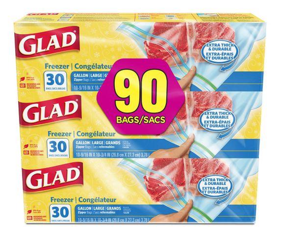 Glad® Large Freezer Zipper Bags, 3 x 30-ct