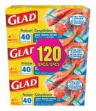 Sacs refermables de Glad pour congélateur, format moyen, paq. 3 x 40 | GLADnull