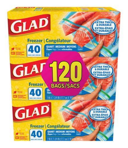 Sacs refermables de Glad pour congélateur, format moyen, paq. 3 x 40 Image de l'article